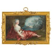 Y FRENCH SCHOOL, MINIATURE PAINTING OF A LADY AS DIANA THE HUNTRESS EARLY 19TH CENTURY