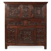LATE GOTHIC STYLE CARVED PARCHEMIN PANEL OAK LIVERY CUPBOARD 19TH CENTURY