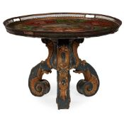 TOLE TRAY AND PARCEL-GILT CARVED OCCASIONAL TABLE 19TH CENTURY