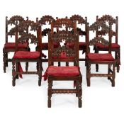 MATCHED SET OF EIGHT 17TH CENTURY STYLE CARVED OAK DINING CHAIRS, PROBABLY YORKSHIRE 19TH CENTURY