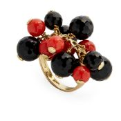 A coral and onyx bead ring, Raiola