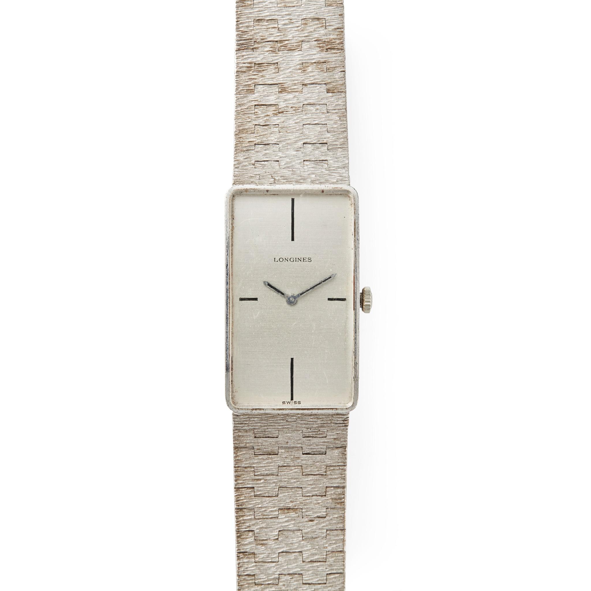 Longines: a gentleman's silver wrist watch
