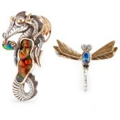 A multi-gem set seahorse pendant