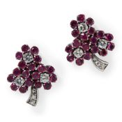 A pair of Burmese ruby and diamond cluster earrings
