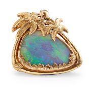 An 18ct gold black opal pendant