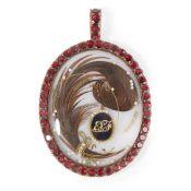 A cased George III memorial pendant