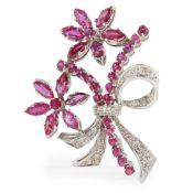 A Burmese ruby and diamond set brooch