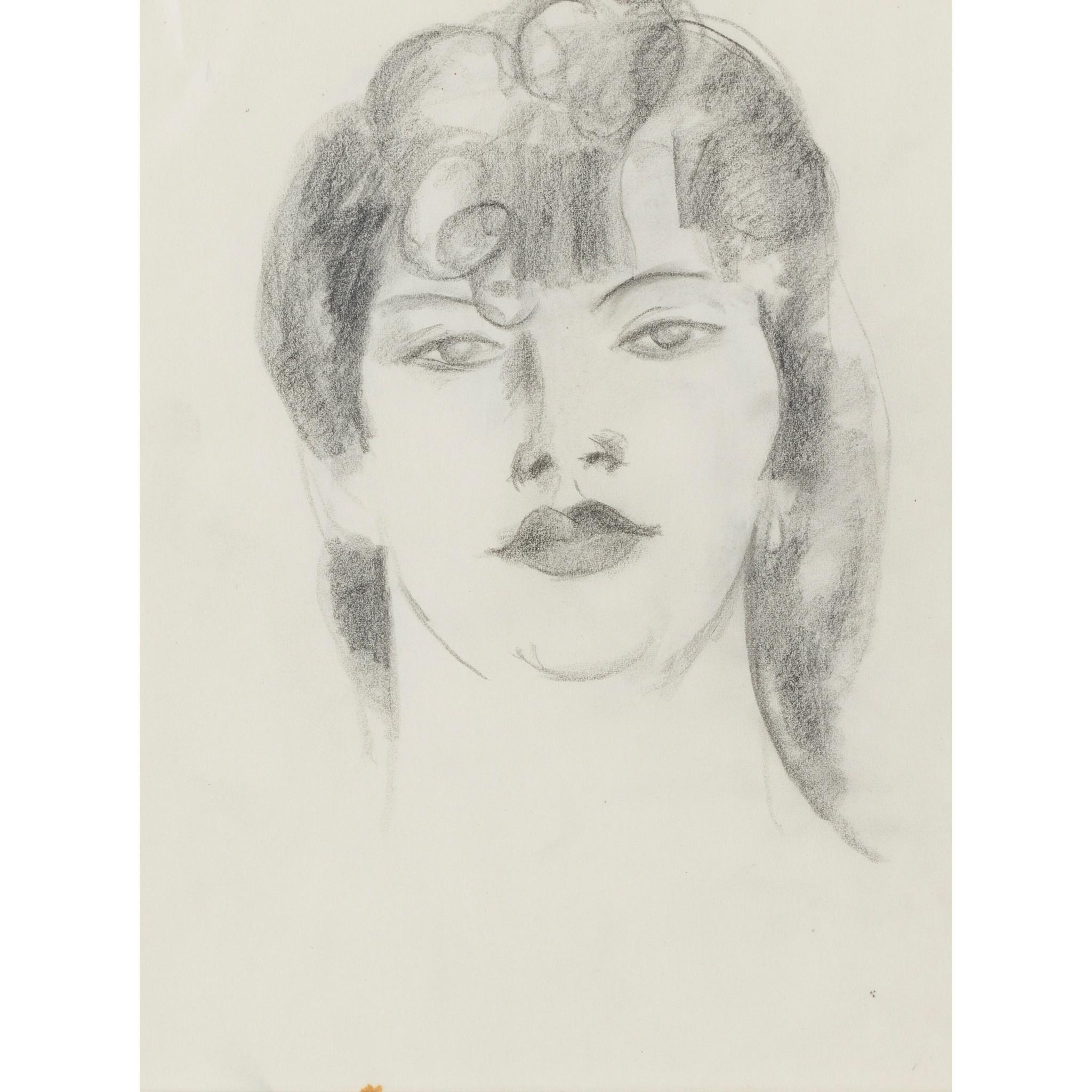 § JOHN DUNCAN FERGUSSON R.B.A. (SCOTTISH 1874-1961) PORTRAIT HEAD