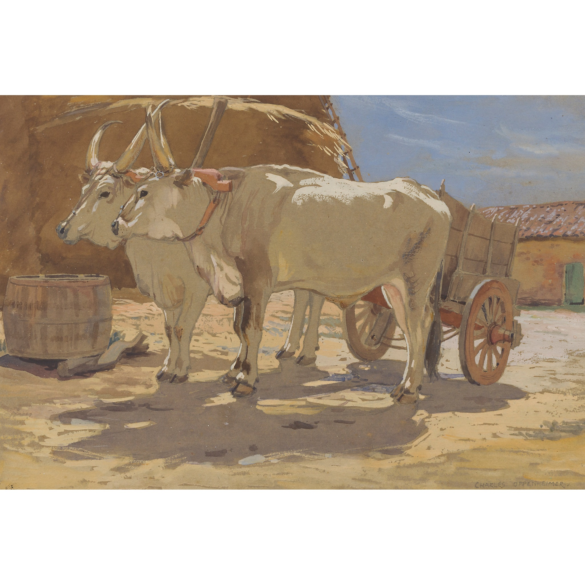 § CHARLES OPPENHEIMER R.S.A., R.S.W (SCOTTISH 1876-1961) CHIANINA CATTLE IN A FARMYARD