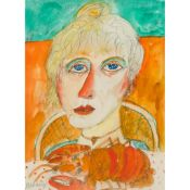 § JOHN BELLANY C.B.E., R.A. (SCOTTISH 1942-2013) WOMAN WITH LOBSTER