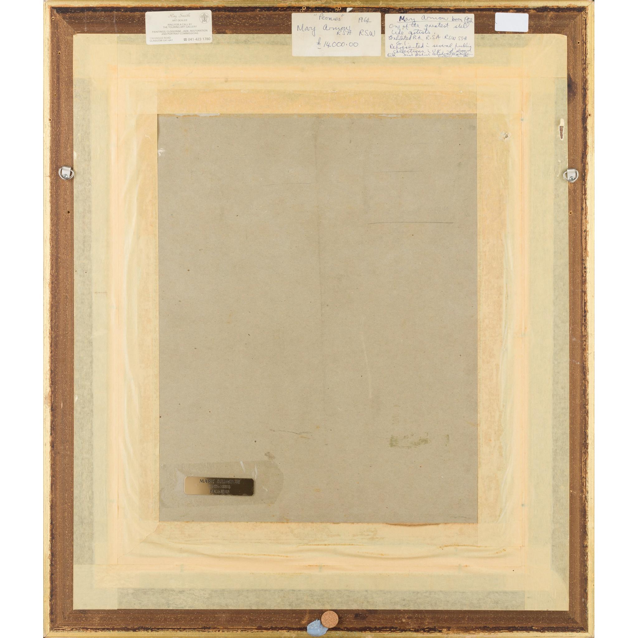 § MARY NICOL NEILL ARMOUR R.S.A., R.S.W. (SCOTTISH 1902-2000) PEONIES - Image 3 of 3