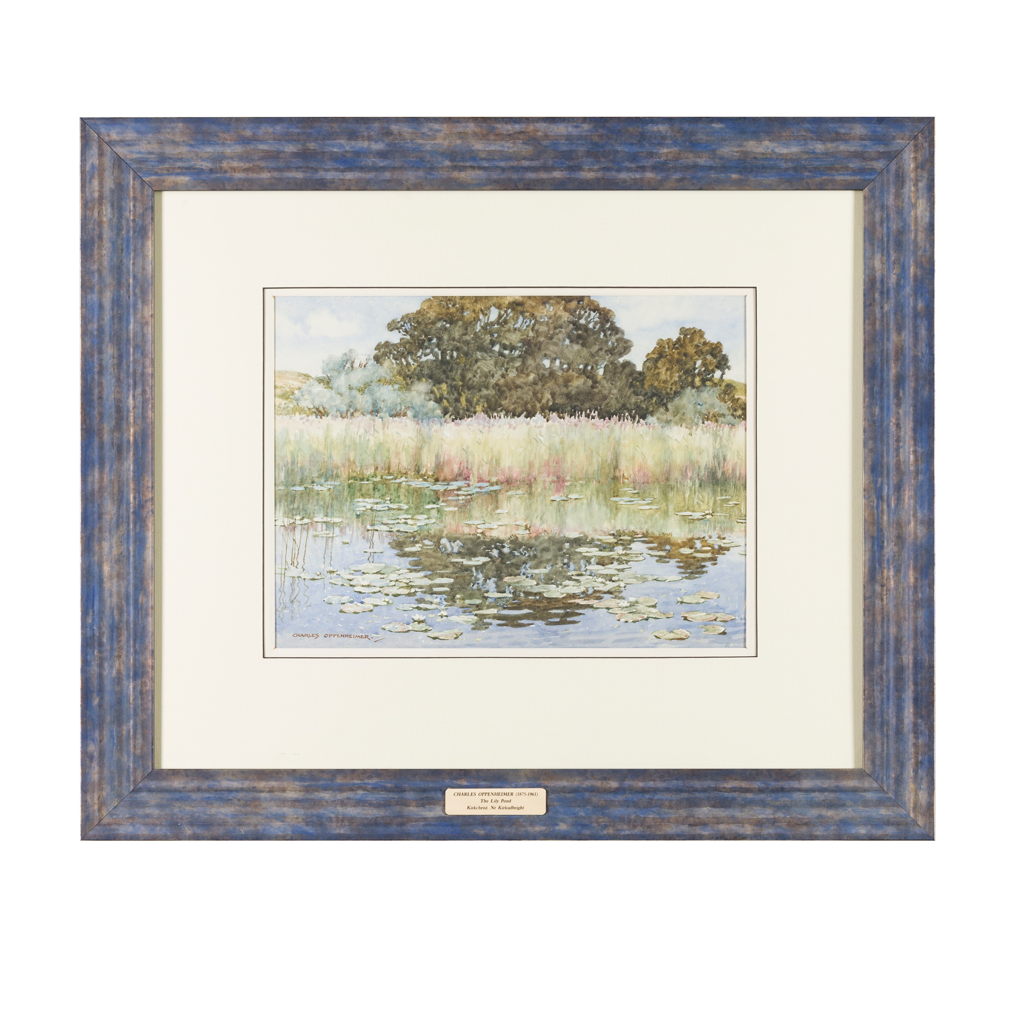 § CHARLES OPPENHEIMER R.S.A., R.S.W (SCOTTISH 1876-1961) THE LILY POND - Image 2 of 3