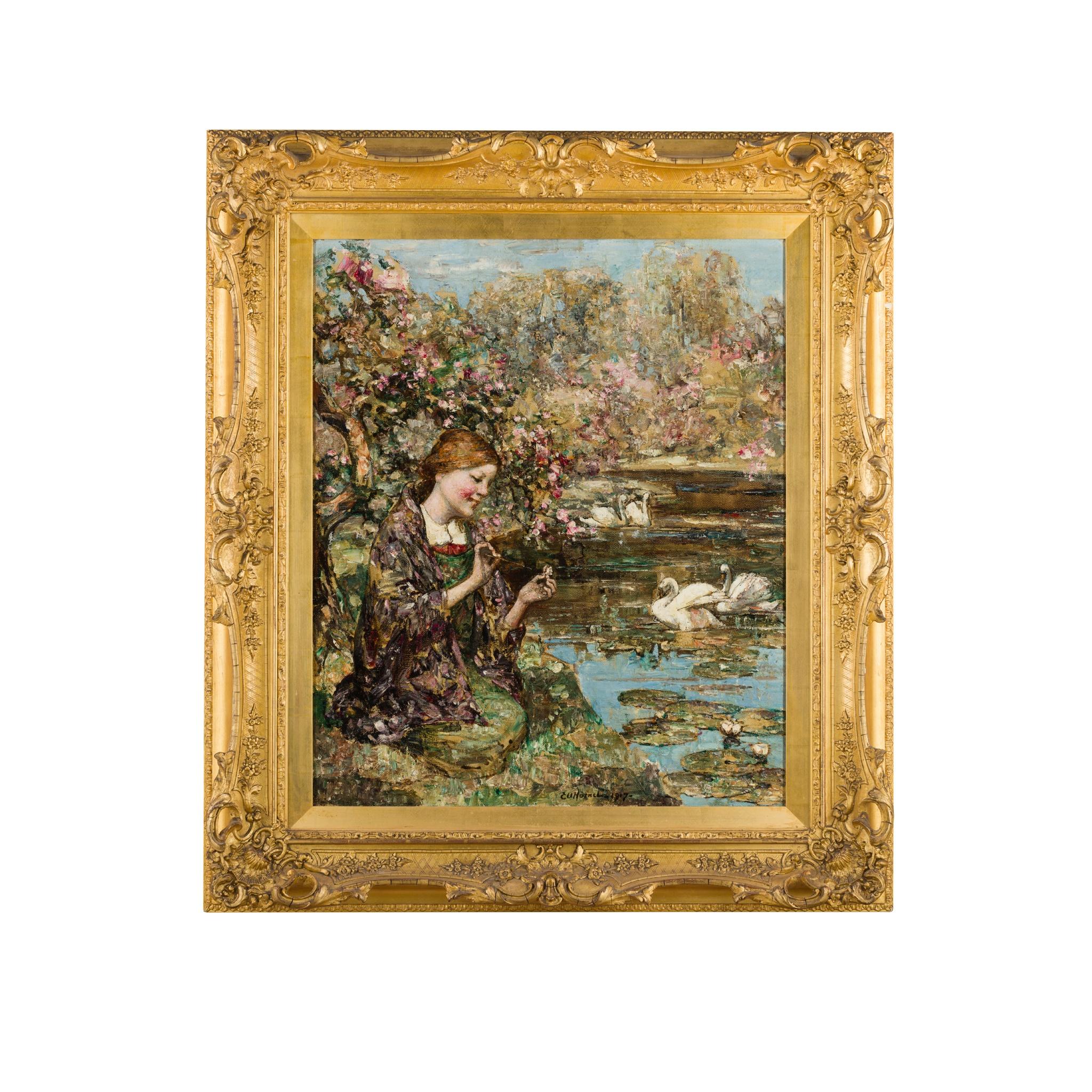 EDWARD ATKINSON HORNEL (SCOTTISH 1864-1933) SWAN LAKE - Image 2 of 3