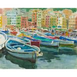 § ALBERTO MORROCCO R.S.A., R.S.W., R.P., R.G.I., L.L.D (SCOTTISH 1917-1999) THE HARBOUR AT CAMOGLI