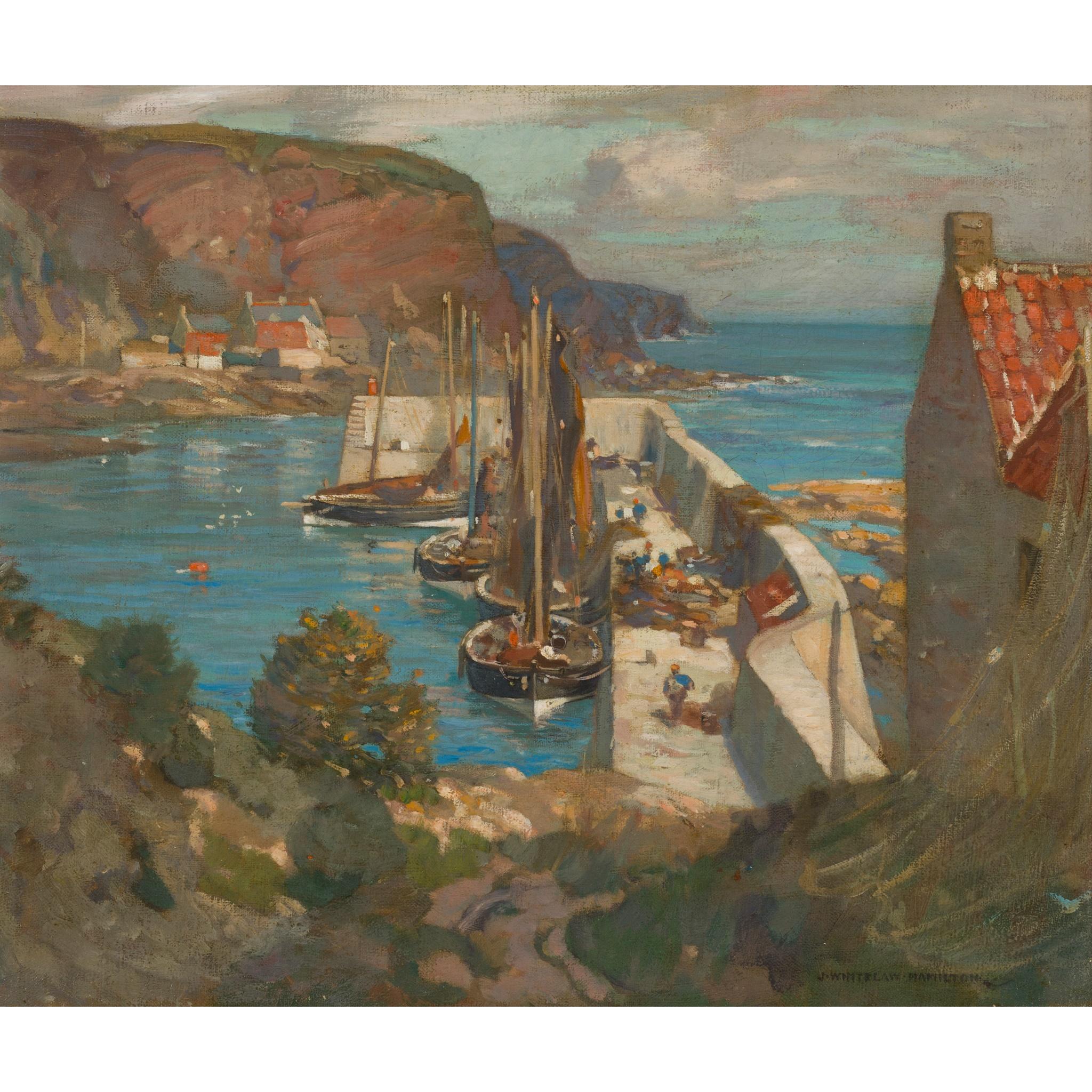 JAMES WHITELAW HAMILTON R.S.A., R.S.W (SCOTTISH 1860-1932) BURNMOUTH HARBOUR