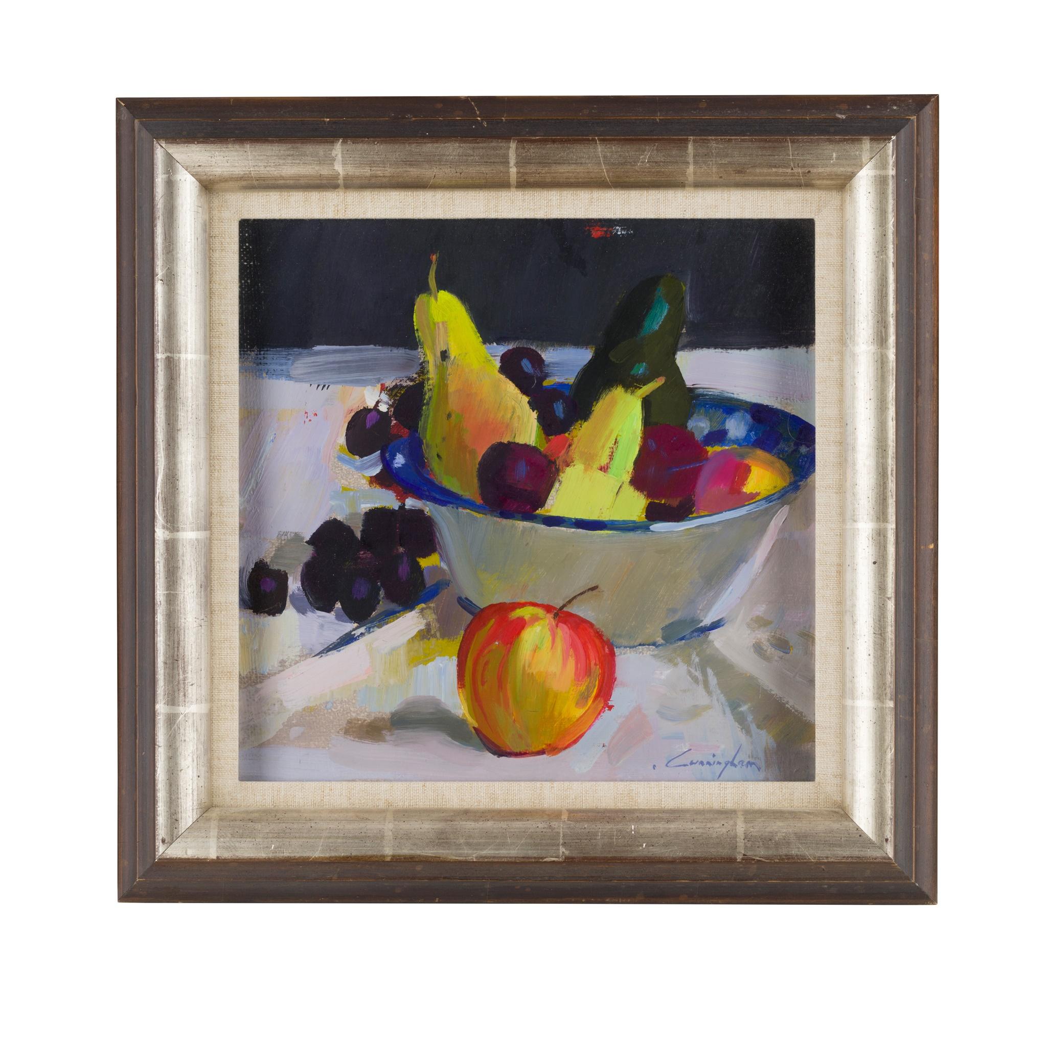 § JOHN CUNNINGHAM (SCOTTISH 1927-2000) BOWL OF FRUIT - Image 2 of 3