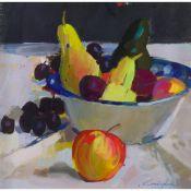 § JOHN CUNNINGHAM (SCOTTISH 1927-2000) BOWL OF FRUIT