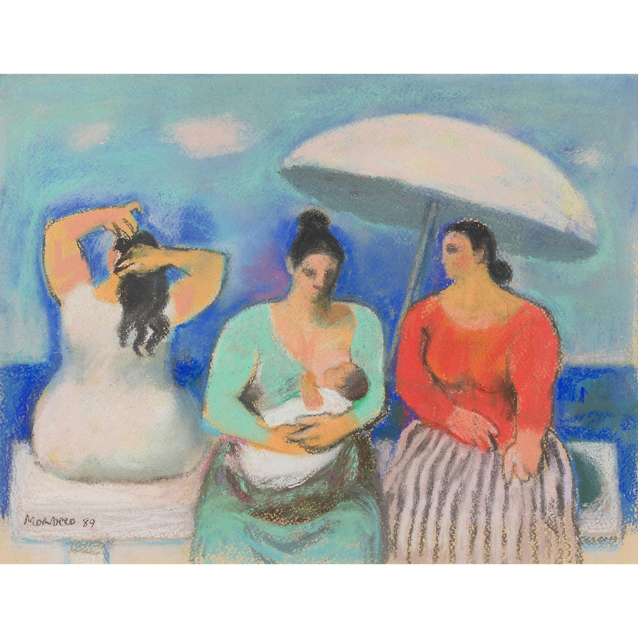 § ALBERTO MORROCCO R.S.A., R.S.W., R.P., R.G.I., L.L.D (SCOTTISH 1917-1999) THREE WOMEN BY THE SEA