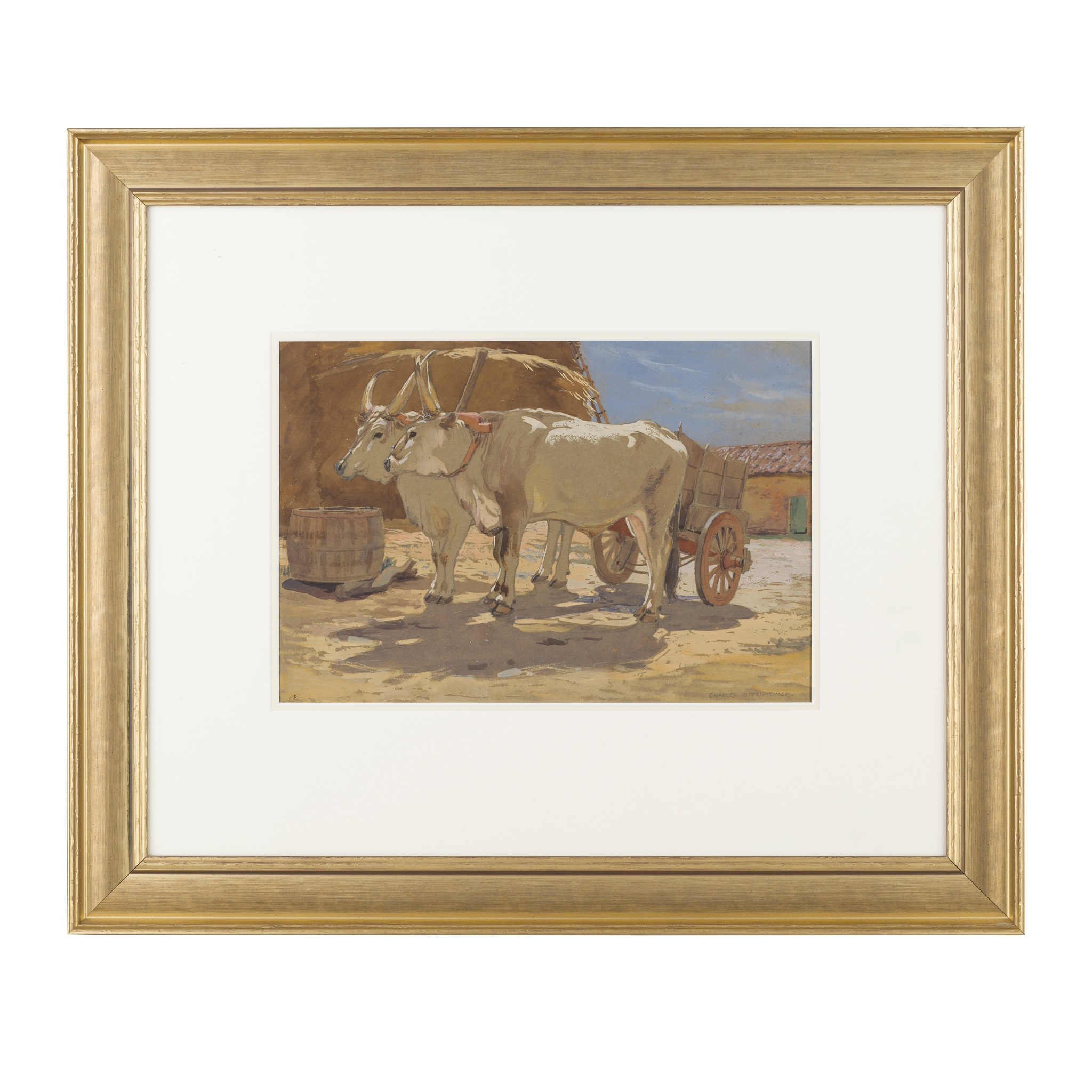 § CHARLES OPPENHEIMER R.S.A., R.S.W (SCOTTISH 1876-1961) CHIANINA CATTLE IN A FARMYARD - Image 2 of 3