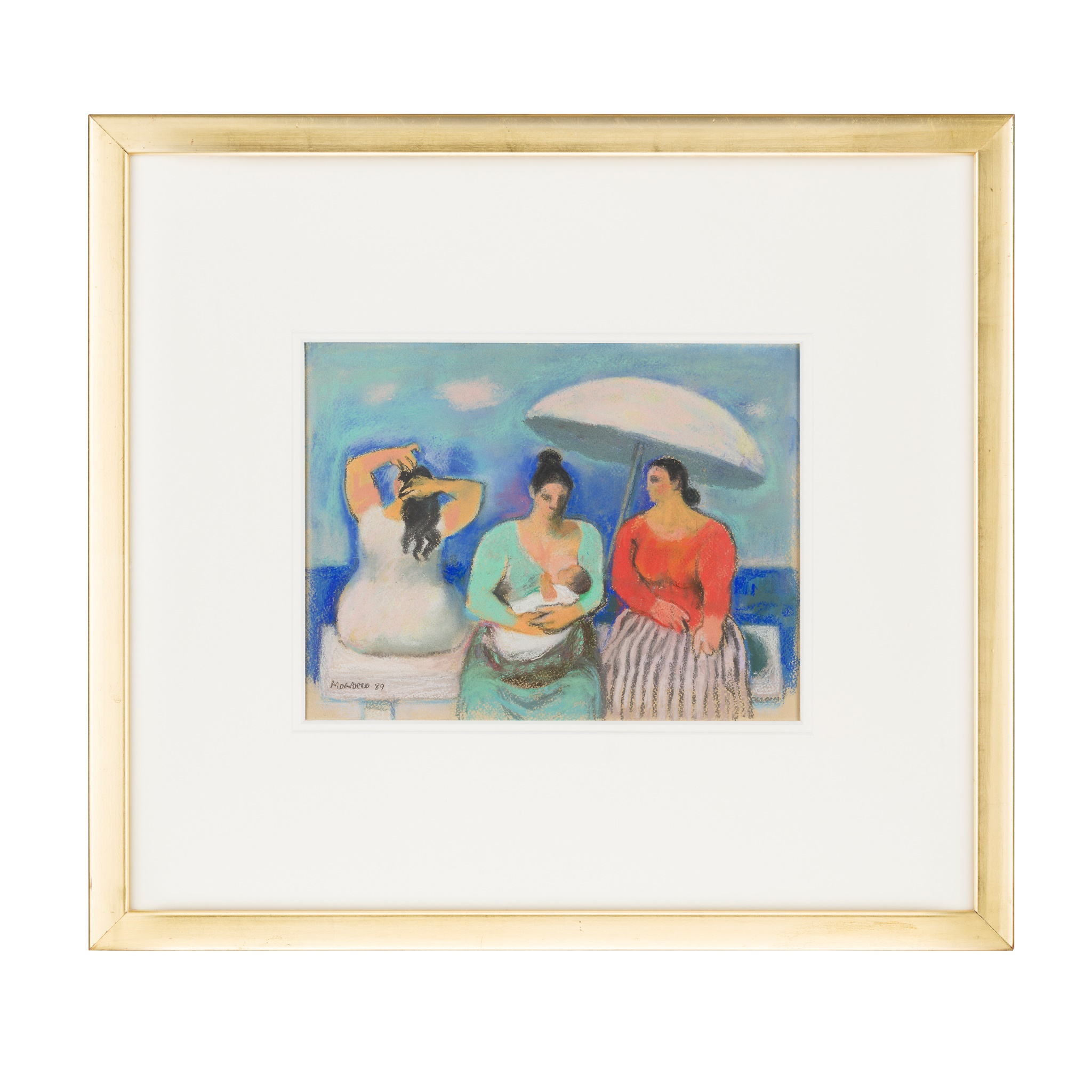 § ALBERTO MORROCCO R.S.A., R.S.W., R.P., R.G.I., L.L.D (SCOTTISH 1917-1999) THREE WOMEN BY THE SEA - Image 2 of 3