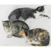 § ELIZABETH BLACKADDER O.B.E., R.A., R.S.A., R.S.W., R.G.I., D.Litt (SCOTTISH B.1931) THREE CATS