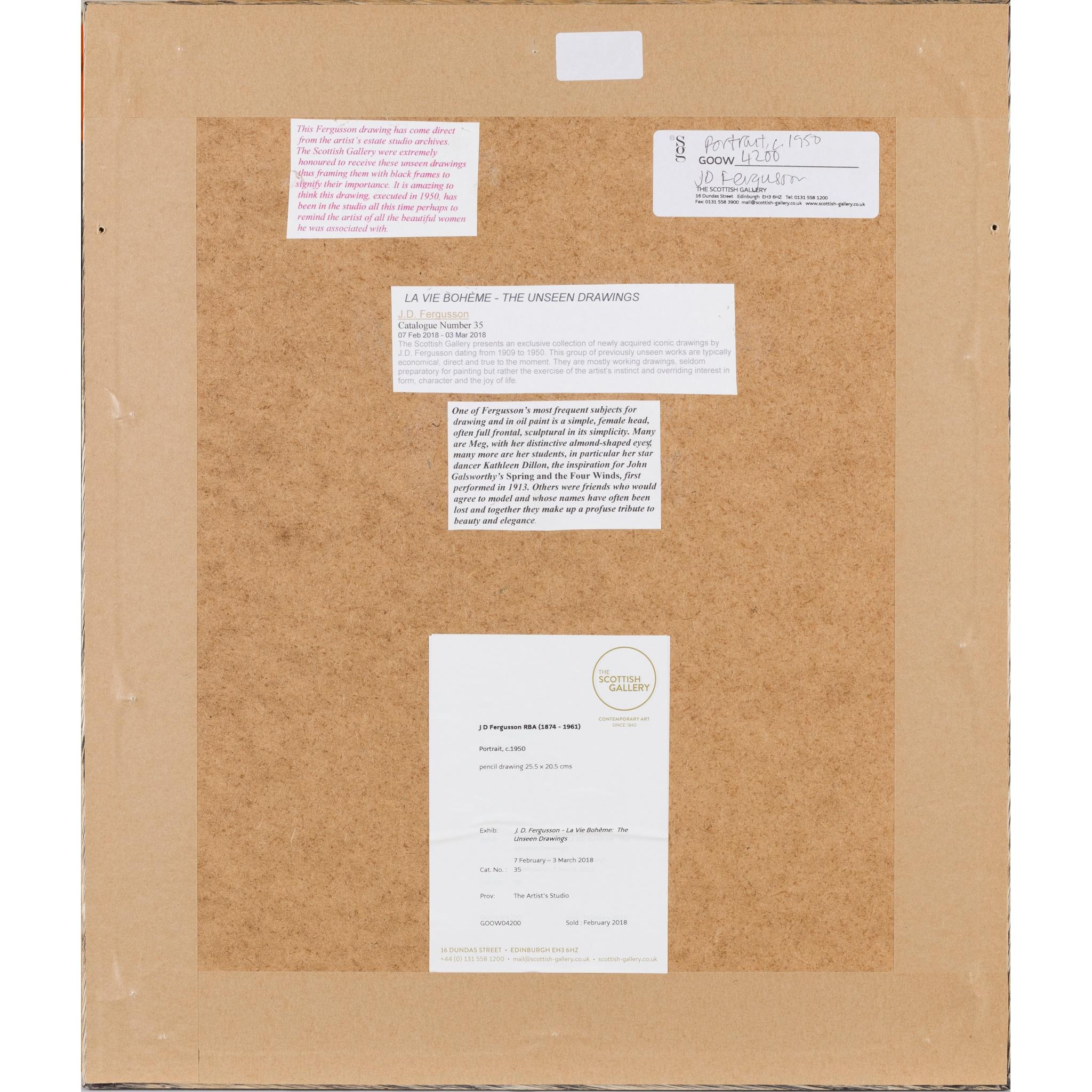 § JOHN DUNCAN FERGUSSON R.B.A. (SCOTTISH 1874-1961) PORTRAIT HEAD - Image 3 of 3