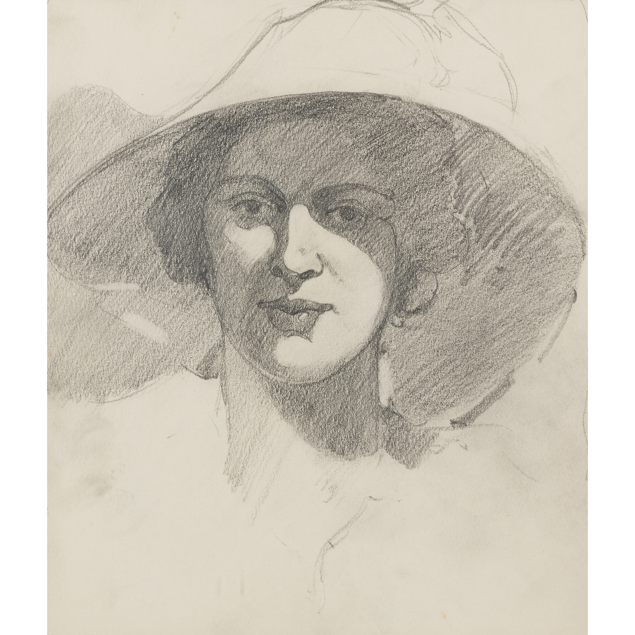 § JOHN DUNCAN FERGUSSON R.B.A. (SCOTTISH 1874-1961) WOMAN IN A LARGE HAT
