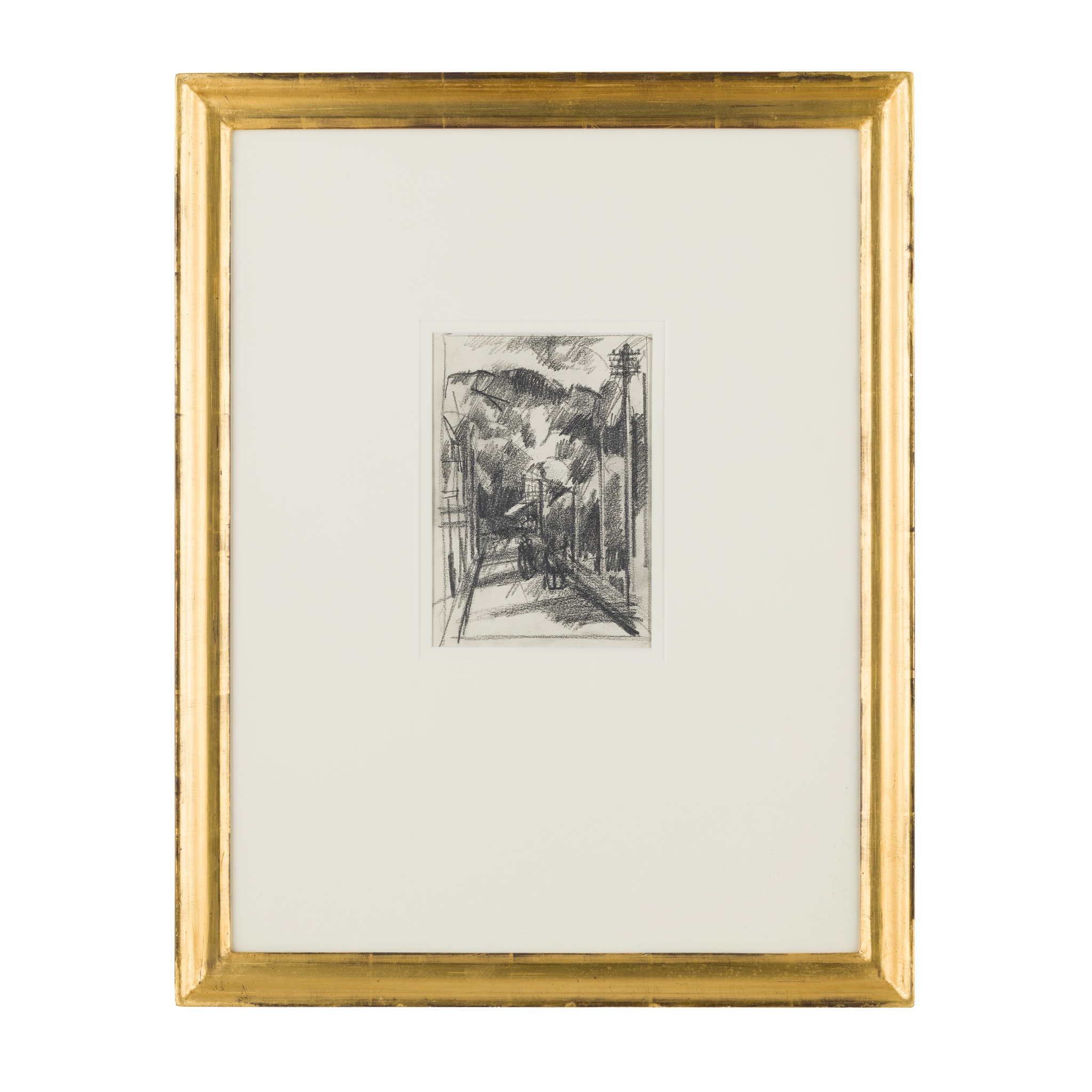 § JOHN DUNCAN FERGUSSON R.B.A. (SCOTTISH 1874-1961) FIGURES PROMENADING HARLECH - Image 2 of 3