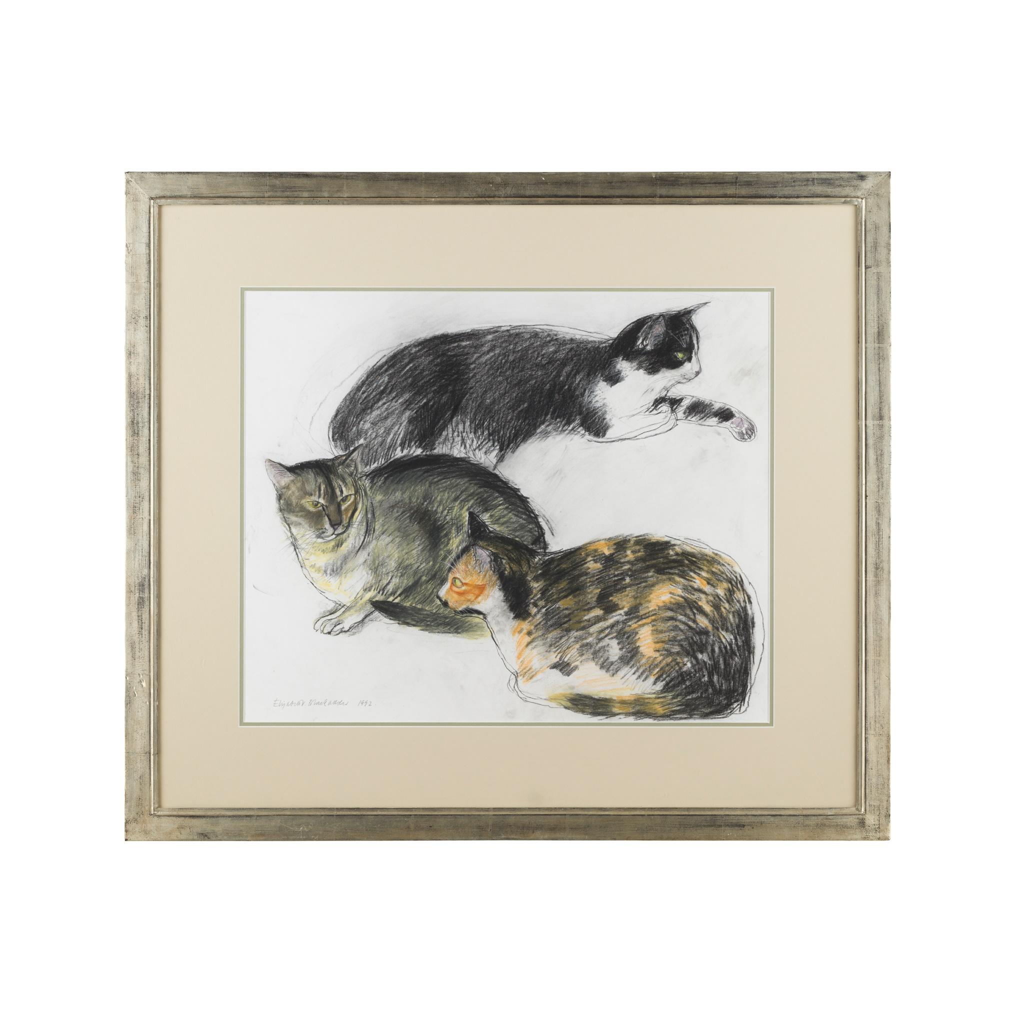 § ELIZABETH BLACKADDER O.B.E., R.A., R.S.A., R.S.W., R.G.I., D.Litt (SCOTTISH B.1931) THREE CATS - Image 2 of 3