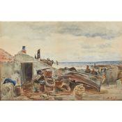 ALEXANDER BALLINGALL (SCOTTISH 1870-1910) MENDING THE BOAT