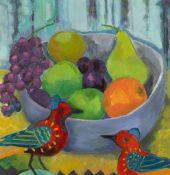 § JEANETTE LASSEN (SCOTTISH 1924-2008) STILL LIFE WITH BIRDS