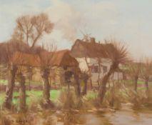 DAVID GAULD R.S.A (SCOTTISH 1865-1936) FARM BUILDINGS BY A RIVER, FRANCE