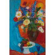 § ANN ORAM R.S.W. (SCOTTISH B.1956) GARDEN FLOWERS WITH FRUIT