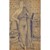 § ALASDAIR GRAY (SCOTTISH 1934-2019) CAROLE GIBBON'S MOTHER, POSED STANDING