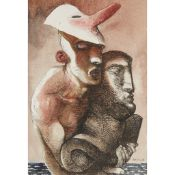 § JOHN BYRNE (SCOTTISH 1940-) MASKED FIGURE WITH CLASSICAL HEAD IV