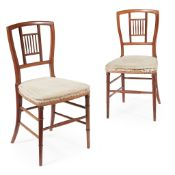 JAMES SHOOLBRED & CO., LONDON, ATTRIBUTED TO H. W. BATLEY PAIR OF AESTHETIC MOVEMENT SIDE CHAIRS,
