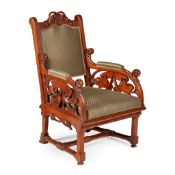 ATTRIBUTED TO EDWIN OPPLER (1831-1880) GERMAN ARMCHAIR, CIRCA 1860