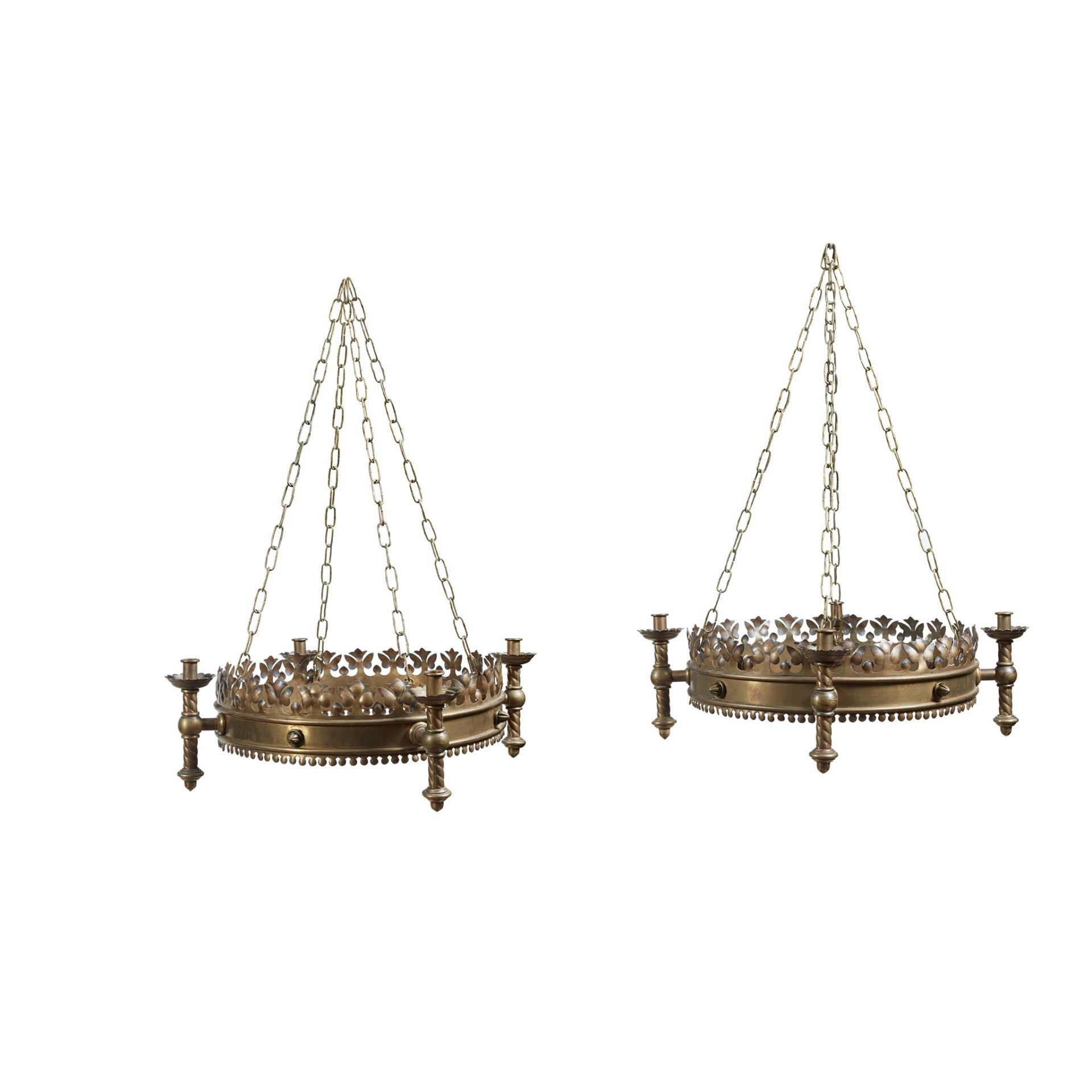 ENGLISH SCHOOL, MANNER OF A.W.N. PUGIN FOR JOHN HARDMAN & CO. PAIR OF GOTHIC REVIVAL CHANDELIERS,