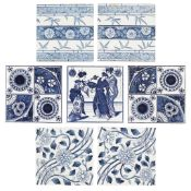 MINTON'S CHINA WORKS AND MAW & CO. GROUP OF SEVEN AESTHETIC MOVEMENT WALL TILES, CIRCA 1880