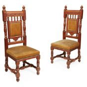 BRUCE J. TALBERT (1838-1881) OR H. W. BATLEY (1846-1932) FOR GILLOW & CO. PAIR OF GOTHIC REVIVAL