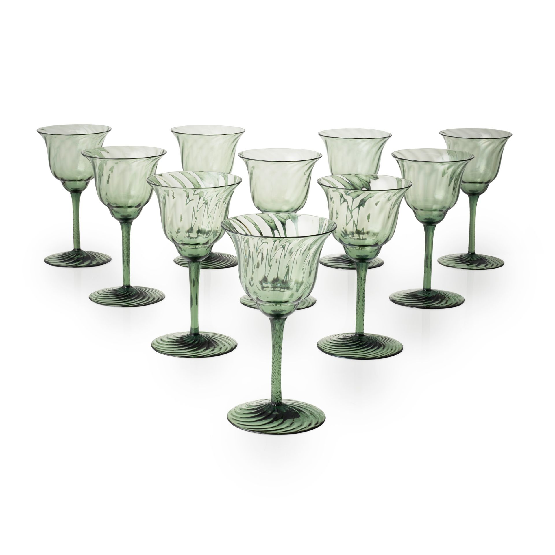 JAMES POWELL & SONS, WHITEFRIARS SET OF TEN DRINKING GLASSES, CIRCA 1900
