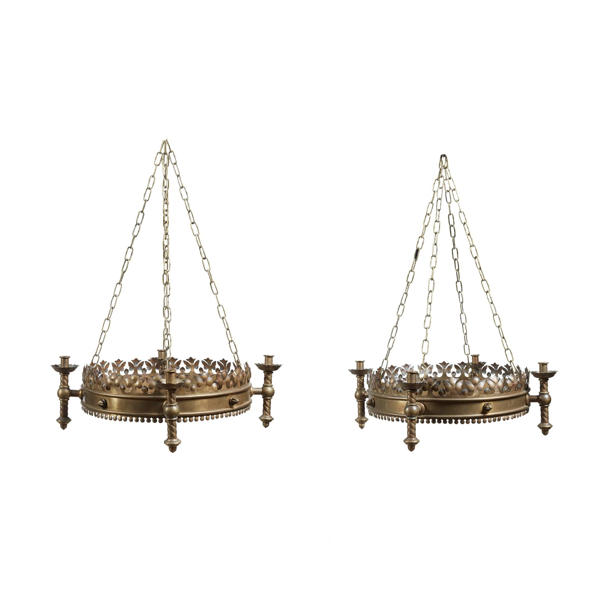 ENGLISH SCHOOL, MANNER OF A.W.N. PUGIN FOR JOHN HARDMAN & CO. PAIR OF GOTHIC REVIVAL CHANDELIERS, - Image 2 of 2