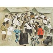 § DOM ROBERT (GUY DE CHAUNAC-LANZAC) (FRENCH 1907-1997) GROUP OF PEOPLE CONVERSING, 1954