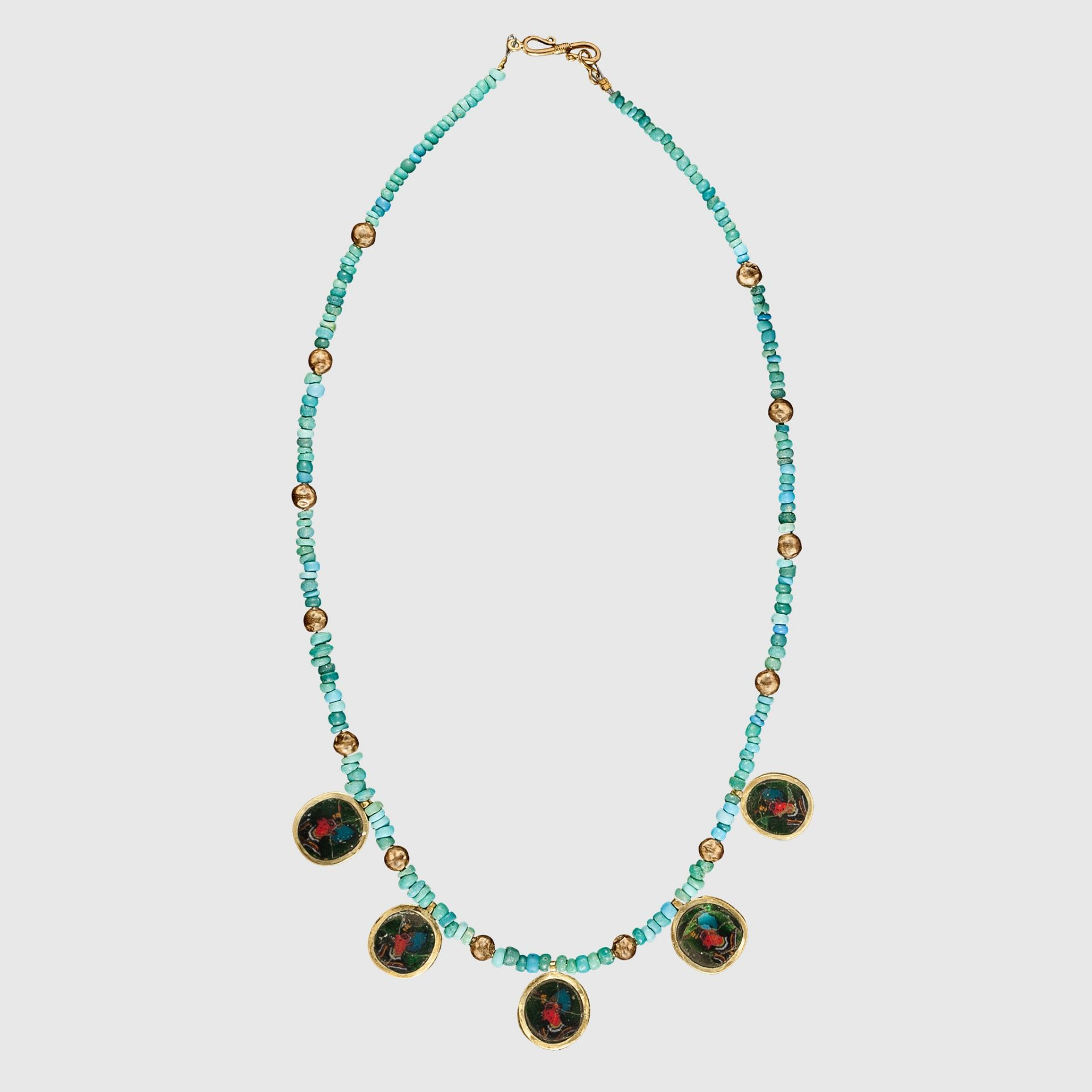 ANCIENT EGYPTIAN PHARAOH MOSAIC NECKLACE EGYPT, PTOLEMAIC PERIOD, 2ND - 1ST CENTURY B.C.