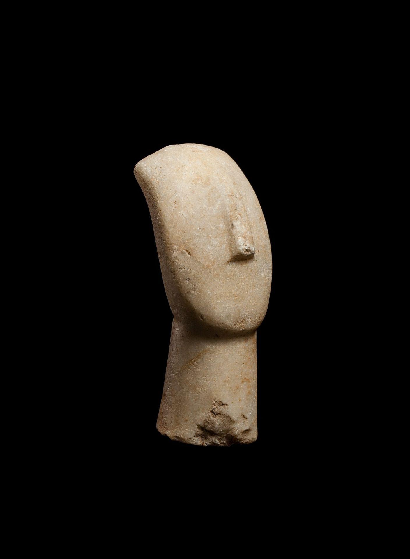 CYCLADIC IDOL HEAD CYCLADES, EARLY CYCLADIC II, C. 2600 - 2400 B.C. - Image 2 of 6