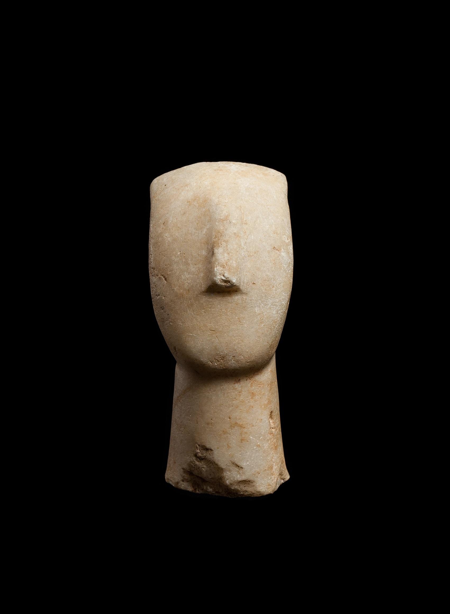 CYCLADIC IDOL HEAD CYCLADES, EARLY CYCLADIC II, C. 2600 - 2400 B.C.