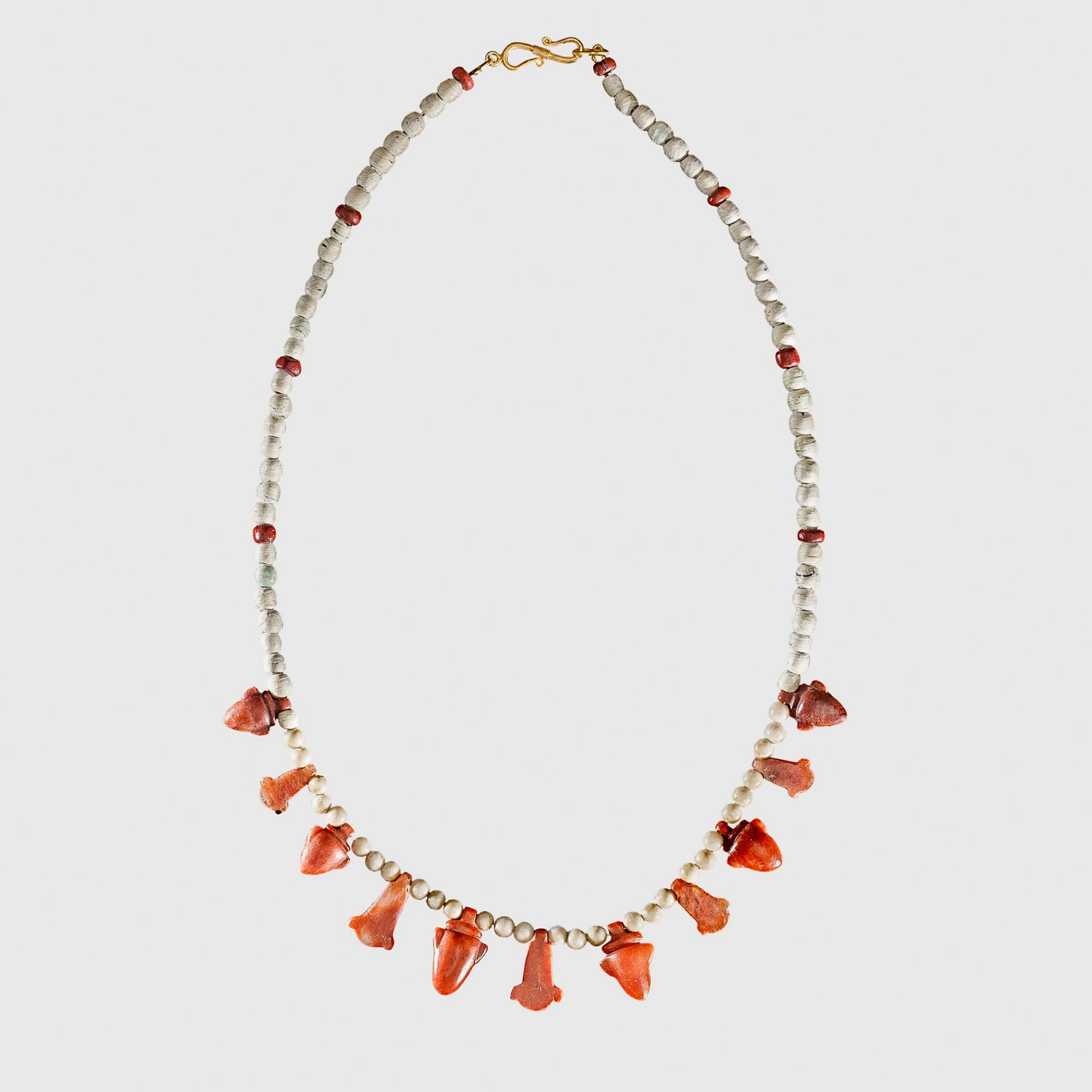ANCIENT EGYPTIAN JASPER NECKLACE EGYPT, LATE PERIOD, 664 - 323 B.C.