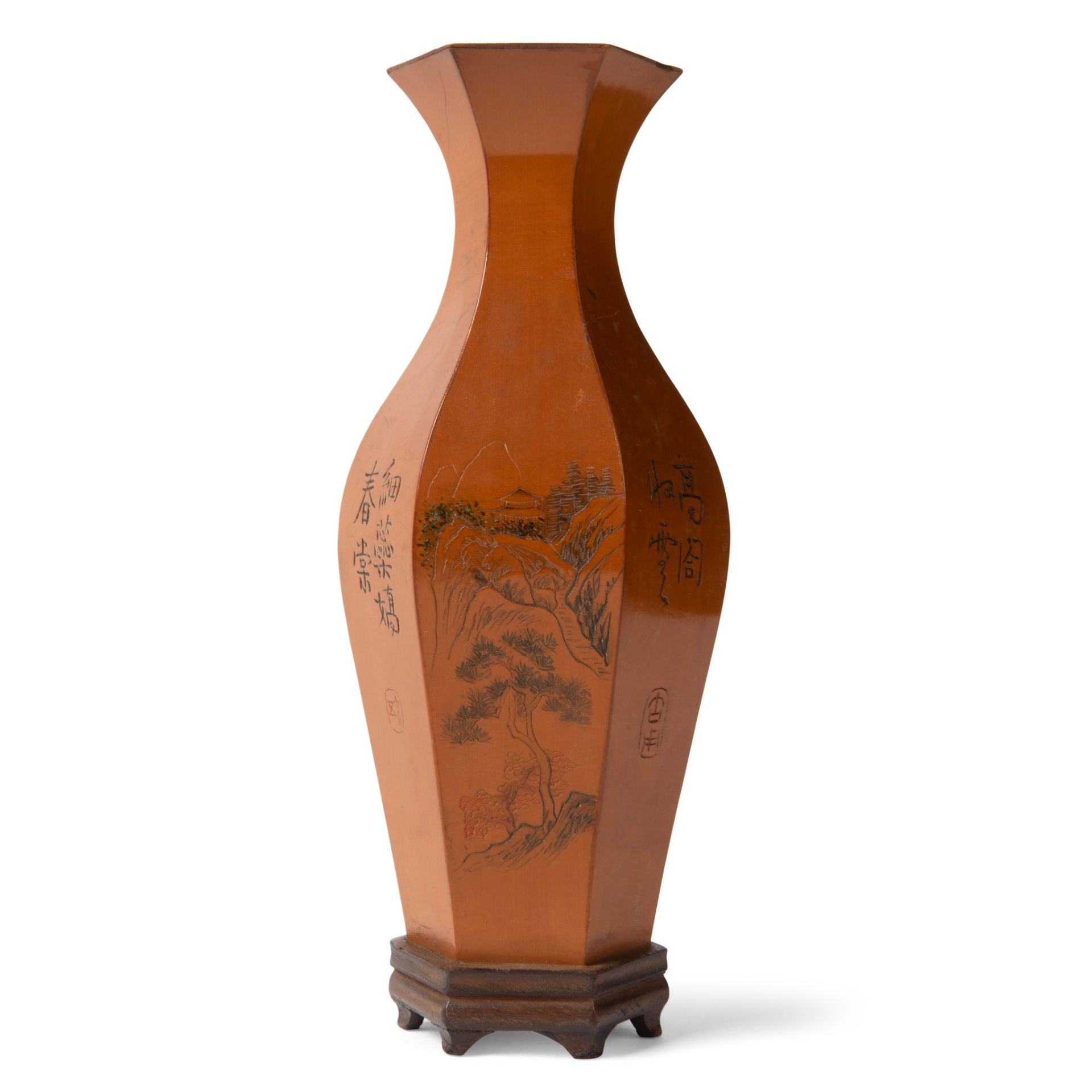 HEXAGONAL VASE WITH BAMBOO APPLIQUE LATE QING DYNASTY-REPUBLIC PERIOD, 19TH-20TH CENTURY