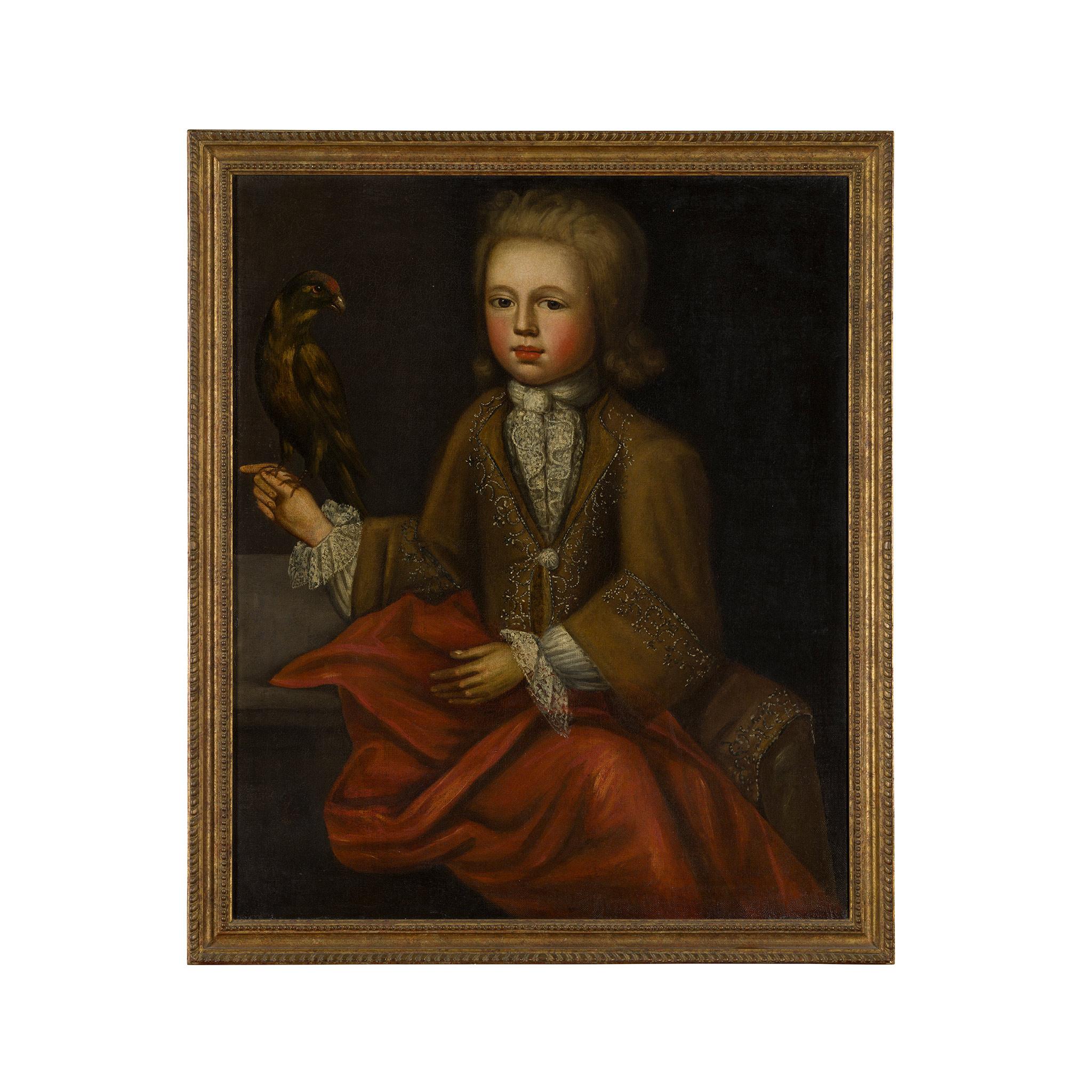 18TH CENTURY ENGLISH SCHOOL HALF LENGTH PORTRAIT OF A BOY WITH A BIRD - Image 2 of 2