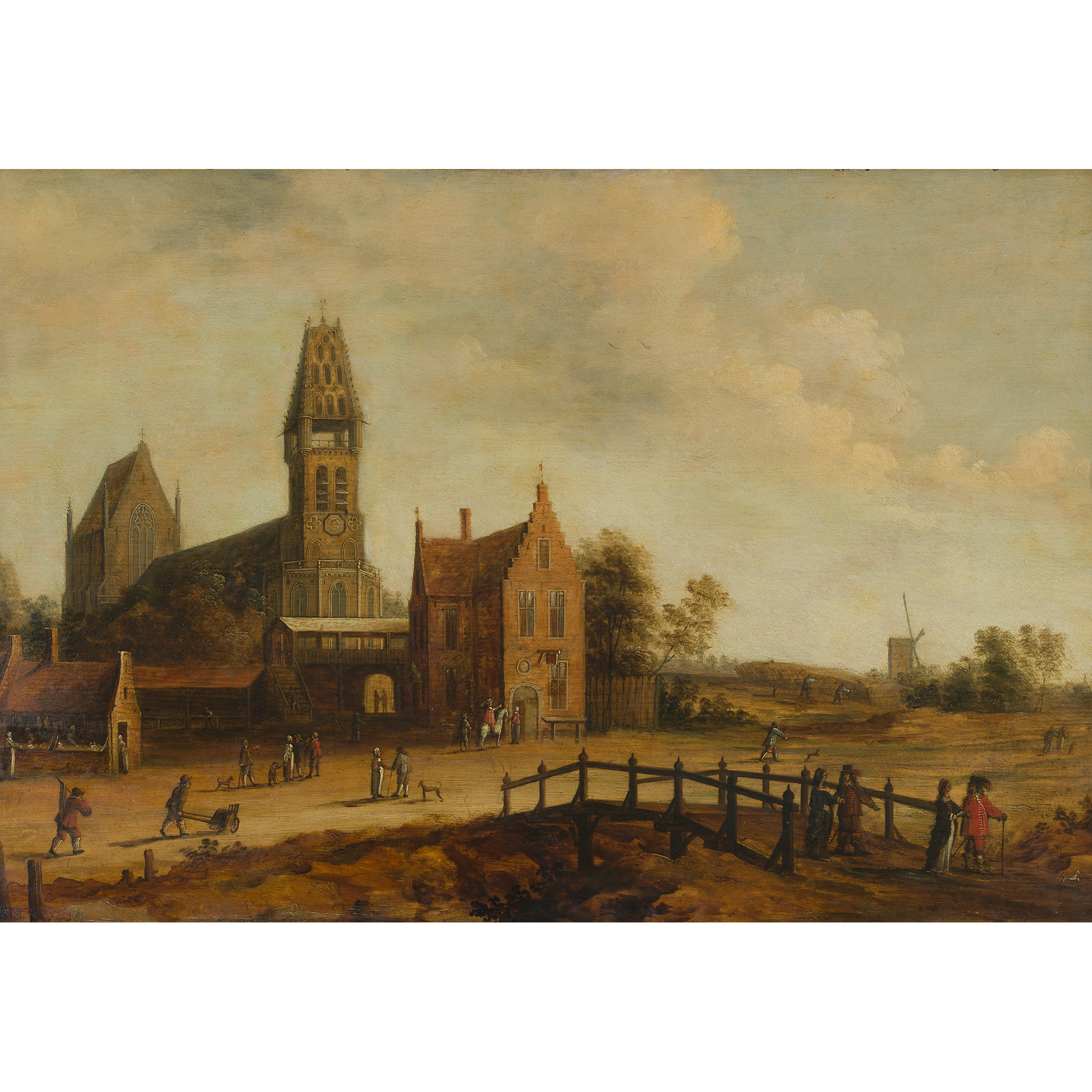 17TH CENTURY DUTCH SCHOOL ON THE OUTSKIRTS OF A SMALL DUTCH TOWN